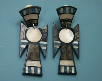 Rare beautiful collectible vintage 1980s unused angel earrings/clips designed by worldknown Hawaiian designer/artist Lee Sands