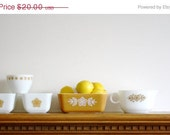 HURRY -- ON SALE Assorted Pyrex dishes, serving pieces Butterfly Gold refrigerator dishes, gravy boat, sugar bowl