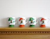 Vintage porcelain mugs Mushroom Pedestal Mugs (Set of 4) Retro Colors