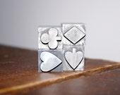 Antique Letterpress Playing Card Suite Symbols printers block lead type