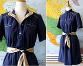 Vintage Dress Utilitarian Day dress Navy 1970s shirtwaist dress with sash small/medium