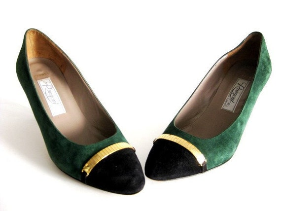 Vintage Shoes Heels Suede Green & Gold Shoes Rangoni Italian Suede Heels Size 6.5   1980s