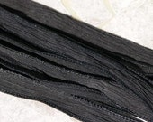 Jamn Silks Black Silk Ribbon One String Hand Dyed Sewn