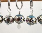 Stitch Markers - Knitting - Crochet - Mexico - Handmade - Turquoise Lampwork Glass - Set of 5 - Last Set