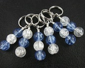 Sky and snow - Knitting Stitch Markers -  Crackled Glass - Handmade - set of 6