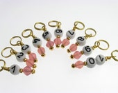 Knitting  Stitch Markers - Pink Numbers - Handmade - Pressed Glass - Matching Row Counter available