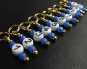 Knitting  Stitch Markers - Sapphire Numbers - Handmade - Matching Row Counter available