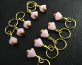 Stitch Markers - Pink Minis - Knitting - Snag Free - Lace - Matching Row Counter - Handmade - Set  of 10