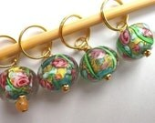 Stitch Markers - Summer meadow  - Knitting - Crochet  Row Counter - Handmade lampwork glass, made with 24 carat gold - Set of 4