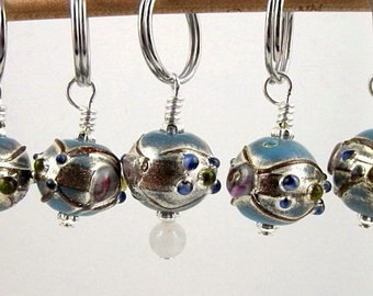 Knit Stitch Markers - Mexico - Handmade - Knitting - Crochet - Row Counter - Charms - Earrings - Turquoise Lampwork Glass - Set of 5