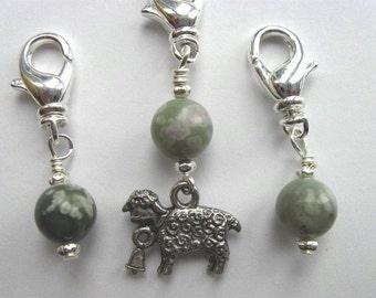 Crochet Stitch Markers - Little Sheep - Zipper Pulls - Snag Free - Handmade - Set of 3