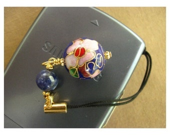 Phone Charm - Scissor Fob - Zipper Pull - Blue Ball - Handmade -  cloisonne