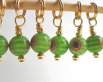Knit Stitch Markers - Very Berry Green - Handmade - Knitting Row Counter - Charms - Set of 10