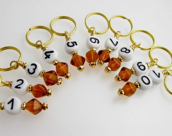 Knit Stitch Markers - Amber Numbers - Knitting - Handmade - Set of 10 - Matching Row Counter available