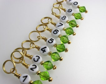 Knitting  Stitch Markers - Cool Numbers - Handmade - Matching Row Counter available
