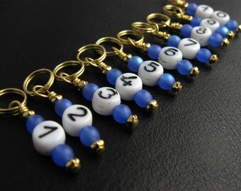 Knit Stitch Markers - Sapphire Numbers - Handmade - Knitting Row Counter - Set of 10