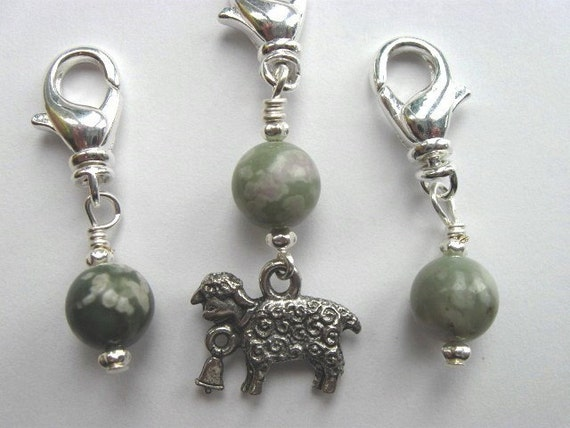 Crochet Stitch Markers - Little Sheep - Zipper Pulls - Snag Free - Handmade - Set of 3