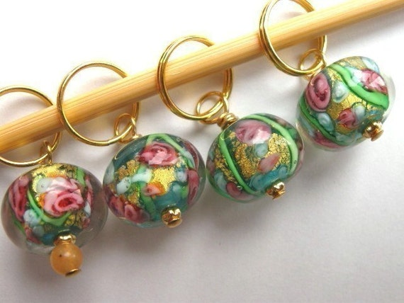 Knit Stitch Markers - Summer meadow - Handmade - Removable - Row Counter - Charms - Earrings - lampwork glass made with 24 c gold - Set of 4