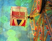 "Colorful carnival photo blue green amusement ride home decor wall art - ""Summer fun"" 8 x 10"