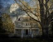 Surreal spooky house full moon gothic autumn dark fantasy home decor wall art - Nightfall 8 x 10