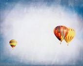 Purple blue sky, red yellow nursery decor, stars, surreal, celestial, summer, decor wall art - Balloon Trio 8 x 10