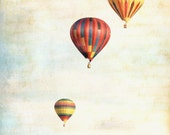"""Hot air balloons pastel red yellow vintage  sky clouds sepia shabby chic - """"Balloon Ride"""" 8 x 10"""