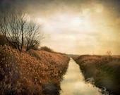 Fall landscape, brown yellow golden meadow, nature, bokeh, trees, home decor wall art - Autumn creek 8 x 10