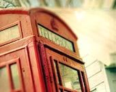 Red phone booth, vintage crimson telephone, London, travel photo - home decor wall art - 8 x 10 fine art print