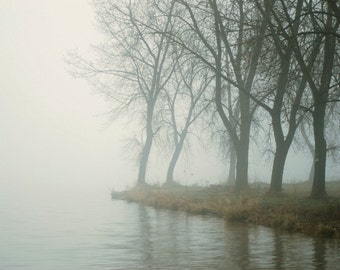 "Dreamy surreal fog landscape forest woodland riverfront trees muted colors - ""Misty River""  8 x 10"