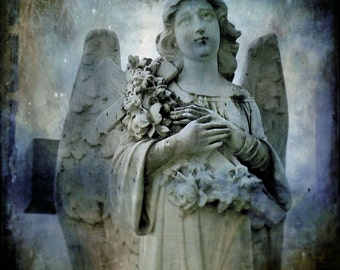 """Vintage dreamy blue, gothic, ethereal, wings, surreal, wall art home decor  - """"Blue Angel"""" 8 x 8 or 8 x 10 your choice"""