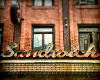 "Sidewalk cafe summer bistro storefront marquee restaurant rustic kitchen art red brick  - ""The Sandwich"" 8 x 10"