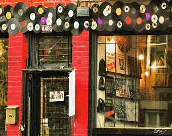 "Funky shop red brick urban window surreal boho hippie scarlet home decor wall art - ""Record Store"" 8 x 10"