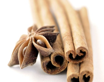Star anise kitchen decor spices on white background beige minimal macro food art for kitchen -  Cinnamon sticks 8 x 10