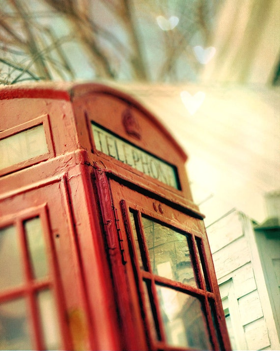 Red phone booth, vintage crimson telephone, London, travel photo - home decor wall art - 8 x 10 fine art print