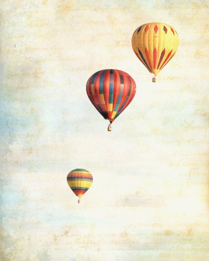 Hot Air Balloons Pastel Red Yellow Vintage Sky Clouds Sepia
