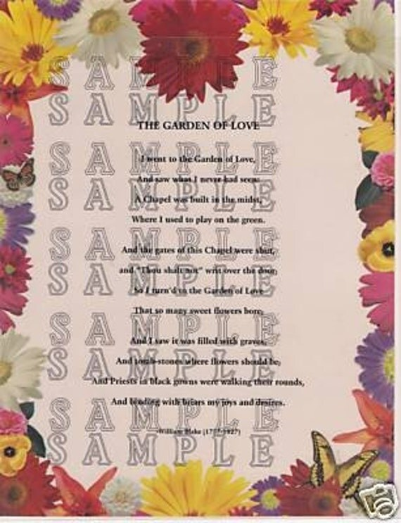 an analysis of the poem garden of love by william blake William blake's poem 'the garden of love' is introduced by nigel planer, who explores the idea of hypocrisy in the church the symbolism is underpinned by the use of narrative images over a reading of the poem.