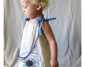Rustic Love - Linen Dress - On Sand Colored Linen/Cotton blend with Black and White Peony flower and Blue Trim and Tie Straps