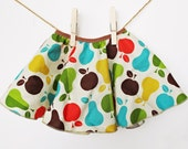 Harvest Skirt - Twirly Circle Skirt   - Retro Apples and Pears in Blue, Brown, Green, Orange and Mustard Yellow  - by bitty bambu