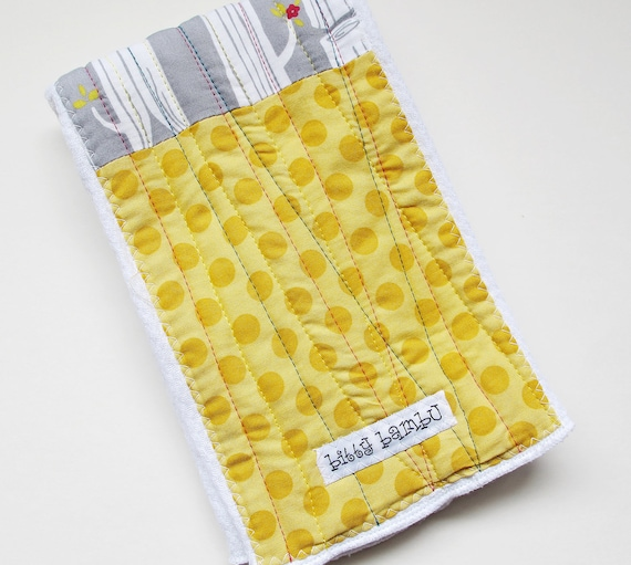Patchwork Quilted Burp Cloth with Organic Gray Birch Tree, Yellow and Teal Fabric