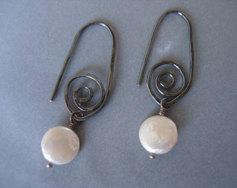 Fresh Water Coin Pearl on Sterling Silver Swirl