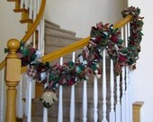 Christmas Garland with rustic jingle bells and ornaments