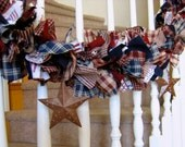 Americana Garland with Stars,4th of July Decoration,Party Decoration,Fabric Garland, Americana Patriotic Fabric Garland with Rustic Stars