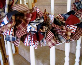 Americana Garland,Fabric garland,Country garland,Party Decoration,Party Garland,4th of July Decoration,Americana Fabric Garland,Americana