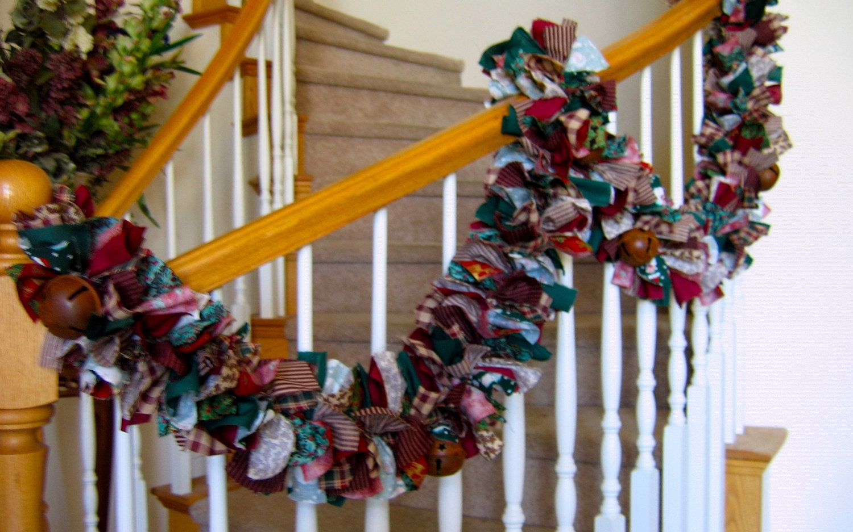 Christmas garland with rustic jingle bellschristmas