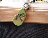 Butterfly green turquoise necklace with front toggle clasp