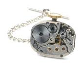 Vintage Movado Watch Movement Steampunk Tie Tack Pin Chain Clip