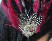 Steampunk Feather N Vintage Watch Hair Clip