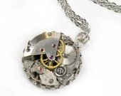 Vintage Watch Movement  Crown Edge Pendant Necklace