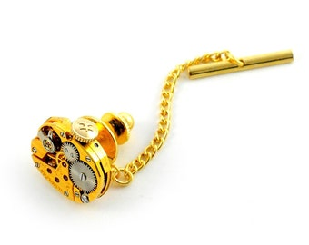 Steampunk Antique Gold Hamilton Watch  Tie Tack Pin Chain Clip