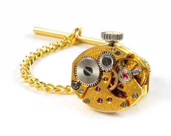 Steampunk Vintage Baume and Mercier Watch Gold Tie Tack Pin Chain Clip